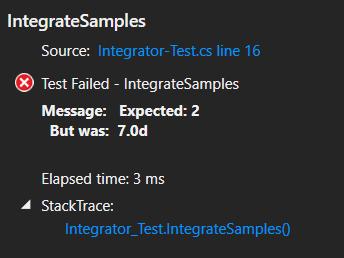 Test jednostkowy, który się nie powiódł.